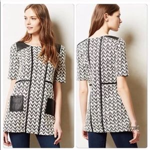 Anthropologie Postmark Leather Accent Tunic Top